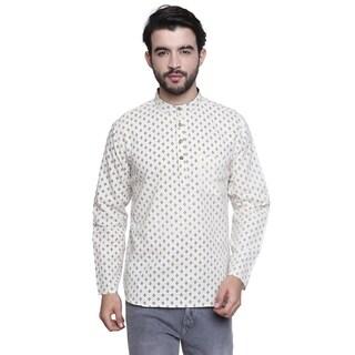 Handmade Men's Banded Collar Shirt-Length Block Print Kurta Tunic
