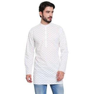 Handmade Men's Indian Banded Collar White Pure Cotton Kurta Tunic