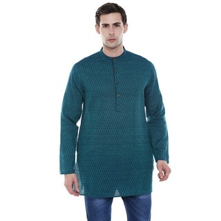 Handmade Men's Indian Mandarin Collar Dobby Print Blue Kurta Tunic
