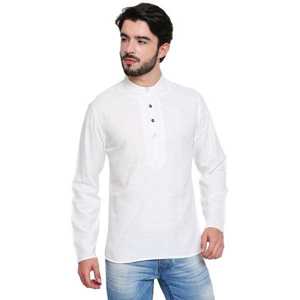 Handmade Mens Banded Collar Shirt-Length Kurta Tunic with Embroidery
