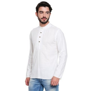 Handmade Men's Banded Collar Shirt-Length Kurta Tunic With Embroidery