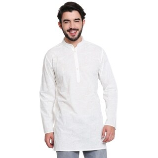 Handmade Men's Banded Collar Self Print White Cotton Kurta Tunic
