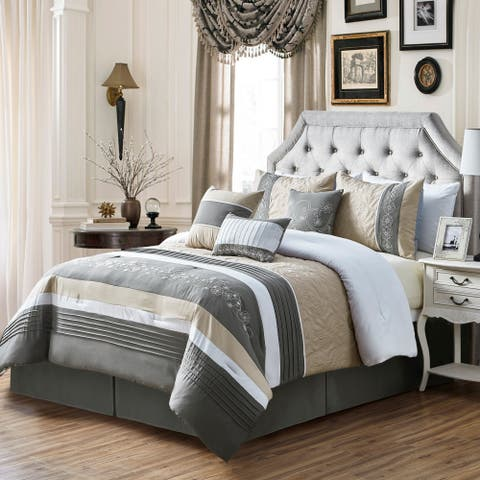Chantee embroidery 7 piece comforter set - Grey/Antique White/Taupe