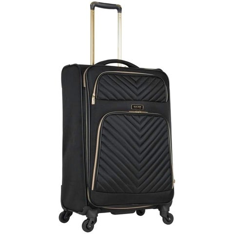Kenneth Cole Reaction Chelsea Collection Lightweight Softside Chevron Quilted Expandable 4-Wheel Spinner 24in Checked Suitcase