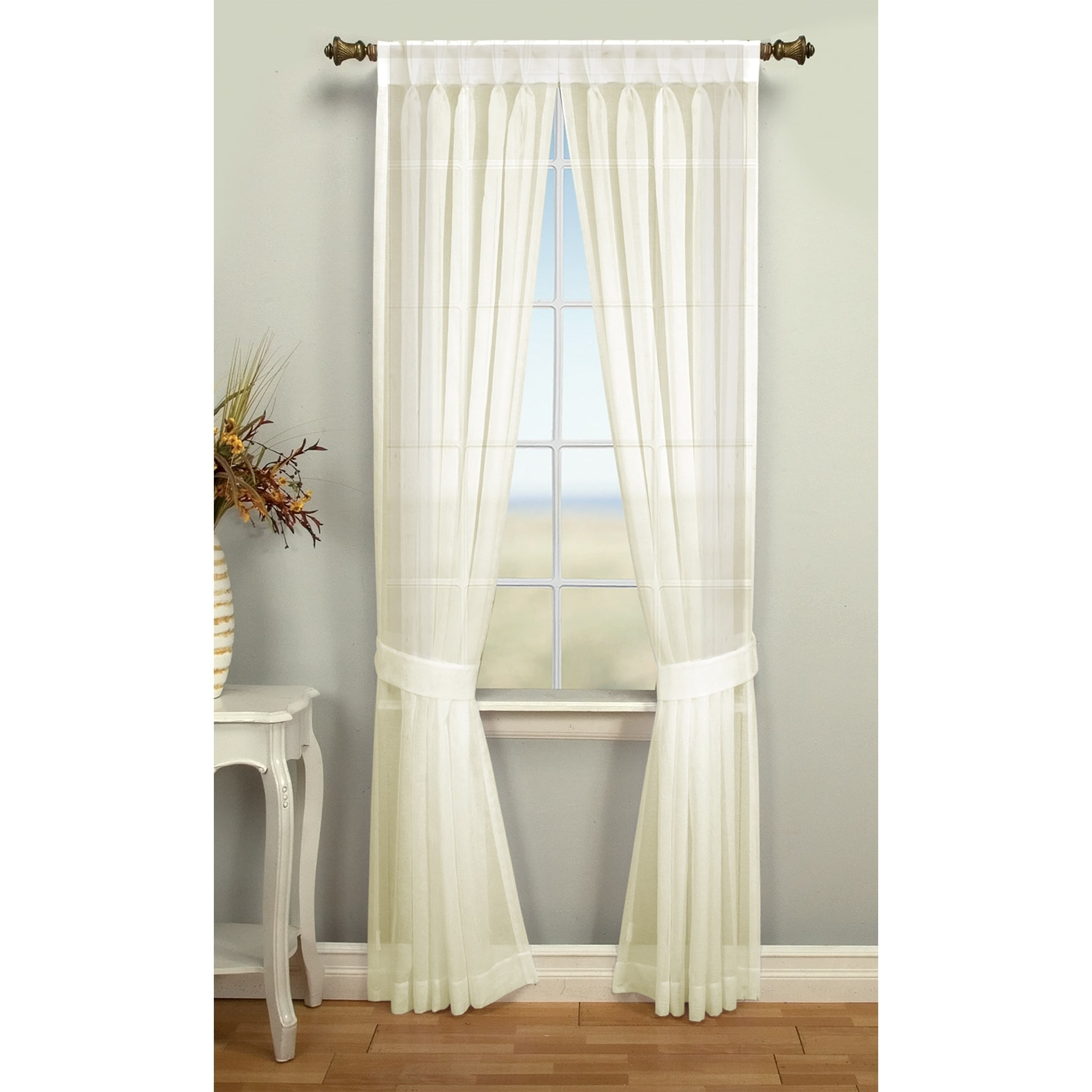 Details About Palm Beach Pinch Pleated Top With Back Tabs Curtain Panel Pair