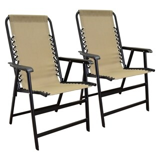 Suspension Folding Chair Beige 2pk
