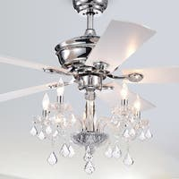 Havorand III 52-Inch 5-light Chrome Lighted Ceiling Fans with Crystal Branched Chandelier (Remote Controlled)