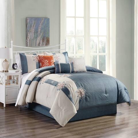 Elight Home Polyester Microfiber 7pc Comforter Set - Blue