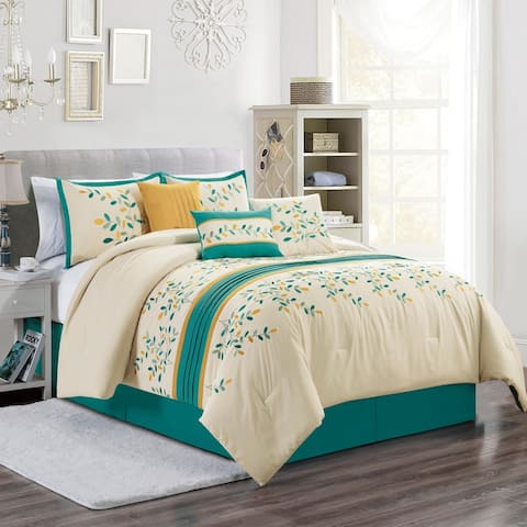 Elight Home Polyester Microfiber 7pc Comforter Set - Ivory