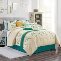 Jade embroidery 7 piece comforter set - Beige/Teal