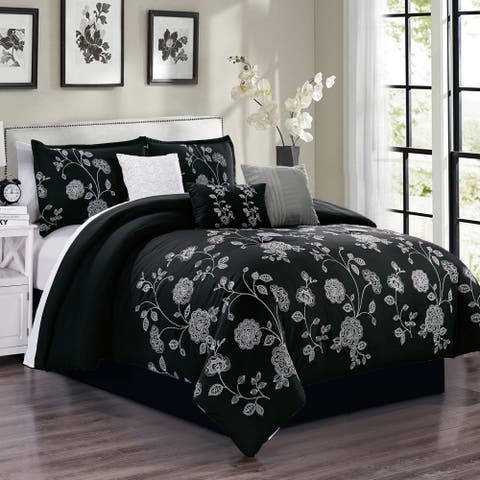 Iris embroidery 7 piece comforter set