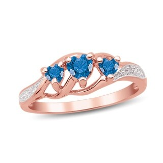 10K Rose Gold Genuine Birthstone Ring with Diamond Accents