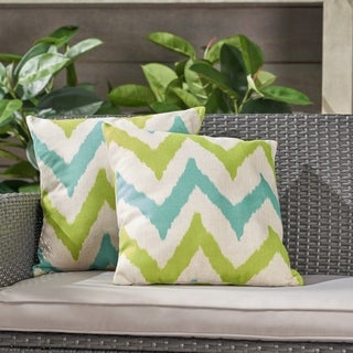 """Adriatic Outdoor 18"""" Water Resistant Square Pillows (Set of 2) by Christopher Knight Home"""
