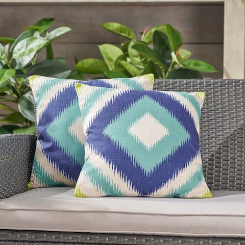 "Victoria Outdoor 18"" Water Resistant Square Pillows (Set of 2) by Christopher Knight Home"