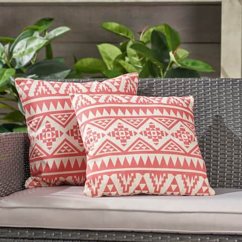 """Caroline Outdoor 18"""" Water Resistant Square Pillows (Set of 2) by Christopher Knight Home"""