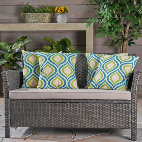 """Phuket Ikat Outdoor 18"""" Water Resistant Square Pillows (Set of 4) by Christopher Knight Home"""
