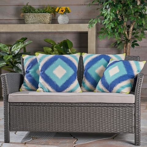 "Victoria Outdoor 18"" Water Resistant Square Pillows (Set of 4) by Christopher Knight Home"