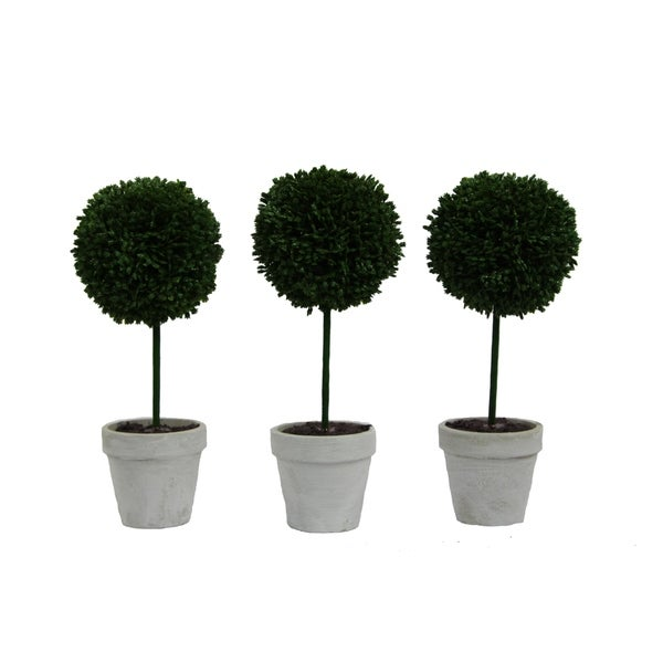 "Artificial Boxwood Ball Topiary Plant Tabletop 9""H, Set of 3"