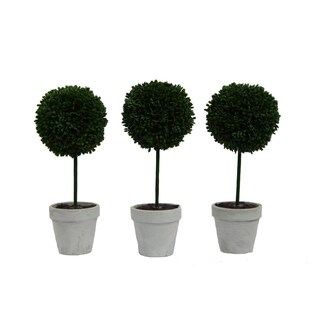 """Artificial Boxwood Ball Topiary Plant Tabletop 9""""H, Set of 3"""