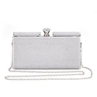 Hearty Trendy Crystal Glass Rhinestone Classic Style Evening Bag with Metal Frame