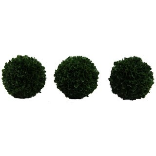 """Faux Preserved Artificial Boxwood Ball Topiary Plant 5""""H, Set of 3"""