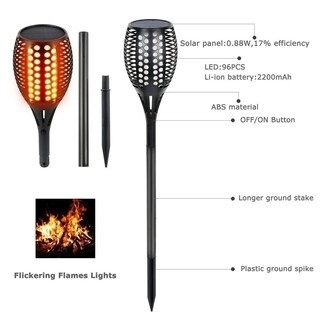 Solar Powered Torch Light Flickering Flame Light For Outdoor With Ground Stake