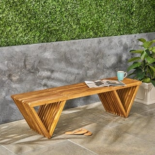 Metropol Outdoor Acacia Wood Bench by Christopher Knight Home