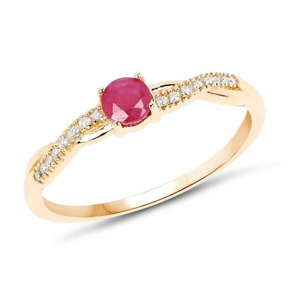 0 35 Carat Genuine Ruby And White Diamond 14k Yellow Gold Ring