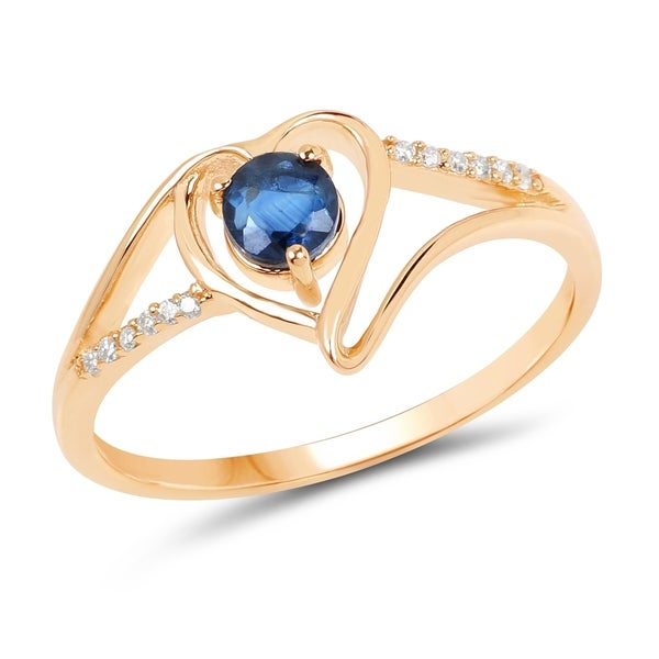 0f9742ac4 0.34 Carat Genuine Blue Sapphire and White Diamond 14K Yellow Gold Ring -  Size 7