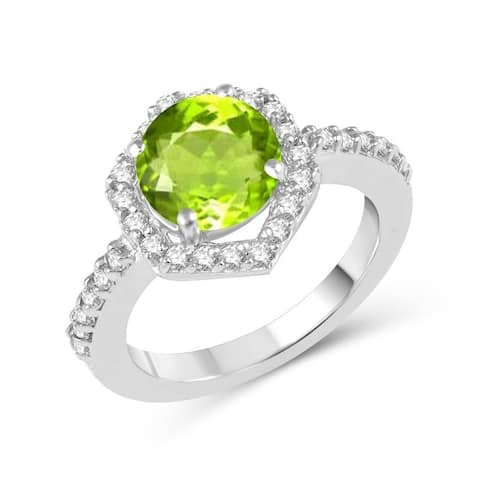 Sterling Silver with Natural Peridot and White Topaz Halo Ring