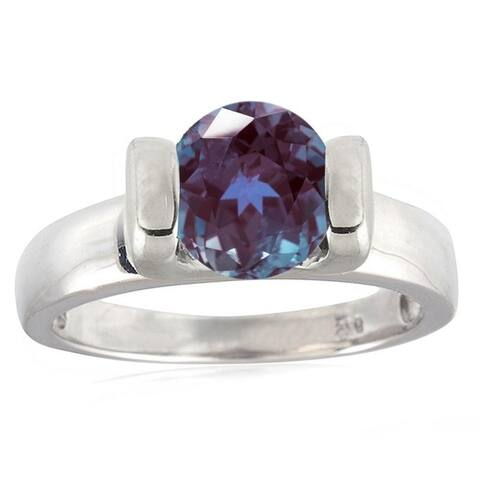 Sterling Silver with Color Changing Alexandrite Solitaire Ring