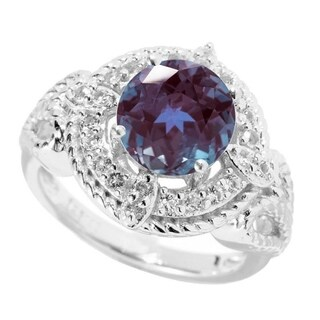 Sterling Silver with Color Changing Alexandrite and White Topaz Halo Ring