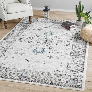 LNC Indoor Vintage Traditional Distressed Polyester Mat Area Rug 5'x7'