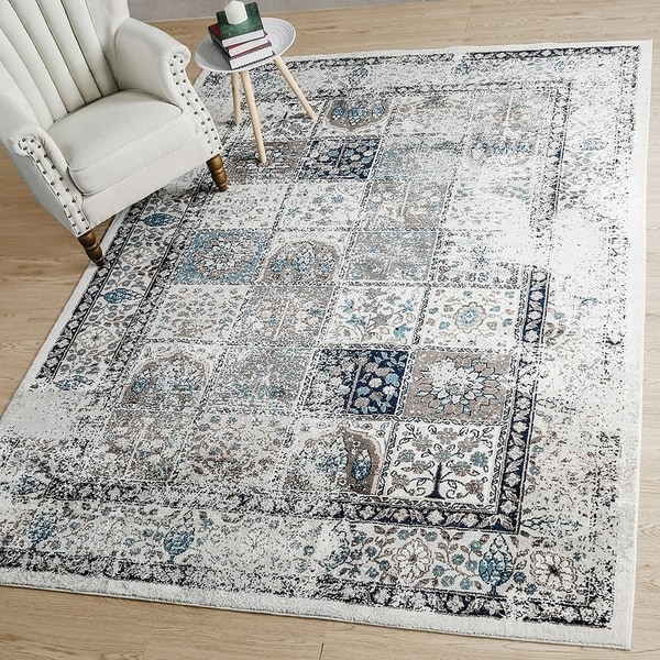 LNC Distressed 5'x7'Mat Indoor Abstract Chic Area Rug