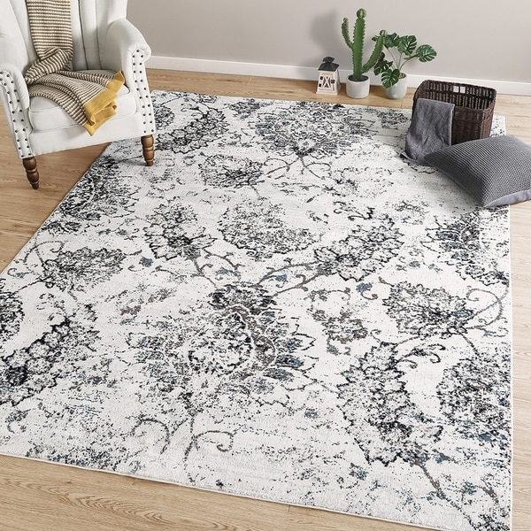 LNC Distressed Polyester Non Slip Area Rug 5'x7'