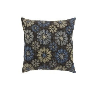 Contemporary Style Floral Designed Set of 2 Throw Pillows, Navy Blue