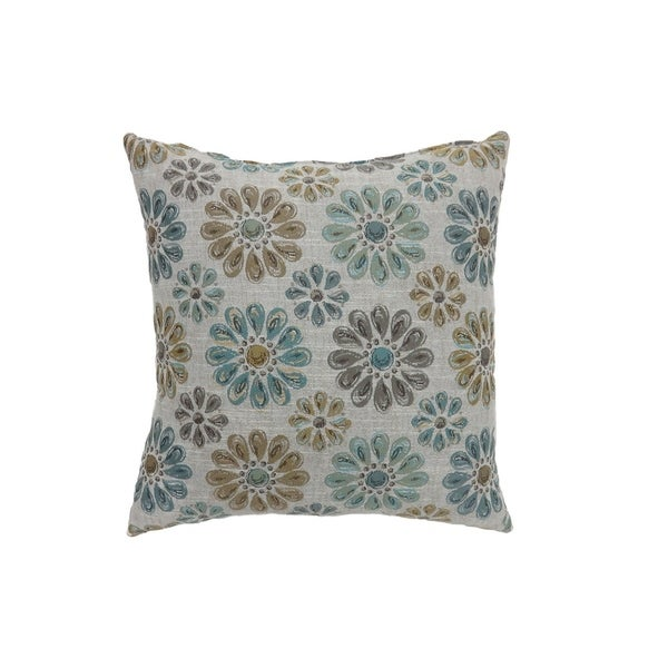 Contemporary Style Floral Designed Set Of 2 Throw Pillows, Light Blue