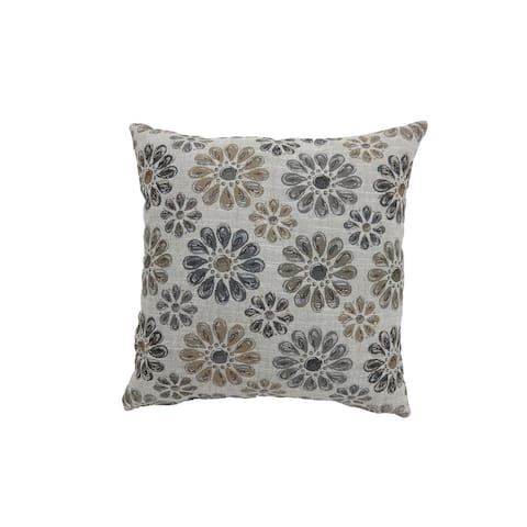 Contemporary Style Floral Designed Set of 2 Throw Pillows, Gray