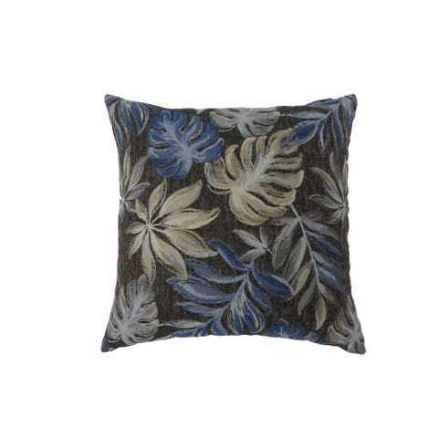 Contemporary Style Leaf Designed Set of 2 Throw Pillows, Navy Blue