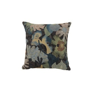 Contemporary Style Floral Designed Set of 2 Throw Pillows, Multicolor