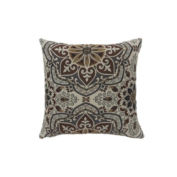 Contemporary Style Medallion Patterned Set of 2 Throw Pillow, Multicolor