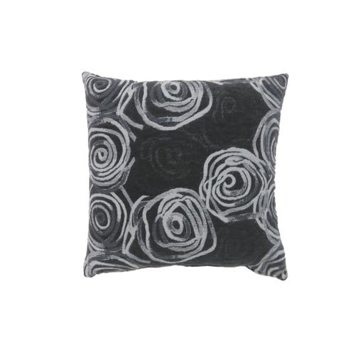 Contemporary Style Irregular Swirly Lines Set of 2 Throw Pillows, Black