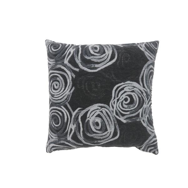 Contemporary Style Irregular Swirly Lines Set of 2 Throw Pillows, Black