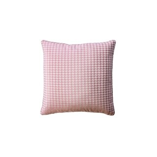 Contemporary Style Set of 2 Throw Pillows With Houndstooth Patterns, Rose Pink