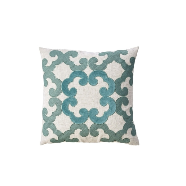 Contemporary Style Floral Designed Set of 2 Pillow Throws, Ivory and Teal Blue
