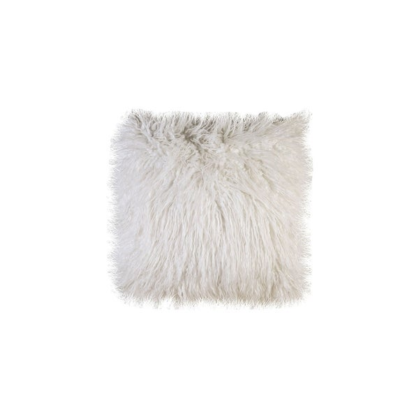 Contemporary Style Shaggy Set of 2 Throw Pillows, White