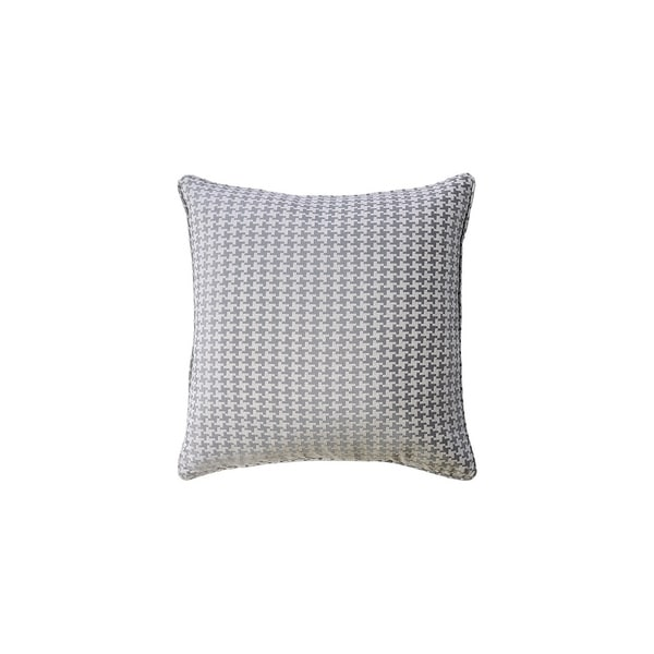 Contemporary Style Set of 2 Throw Pillows With Houndstooth Patterns, Gray