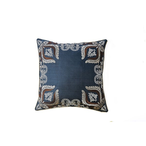 Contemporary Style Set of 2 Throw Pillows With Foliage and Feather Designs, Navy Blue