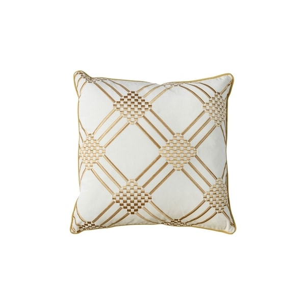 Contemporary Style Set of 2 Throw Pillows With Diamond Patterns, Ivory, Yellow