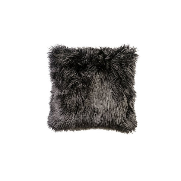 Contemporary Style Shaggy Set of 2 Throw Pillows, Black